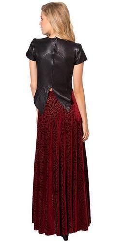 Burgundy Wine Floral Geometric Velvet High Waist Double Slit Maxi Skirt - Sold out