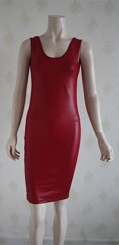 Burgundy Wine PU Faux Leather Sleeveless Scoop Neck Low Back Bodycon Midi Dress - Sold Out