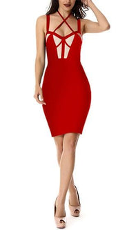 Throwing Shade Sleeveless Cut Out Crisscross Bustier Bandage Bodycon Midi Dress - Sold Out