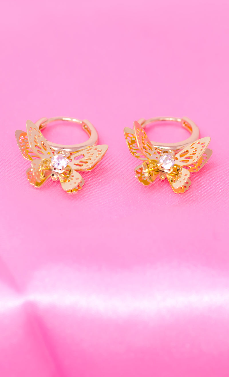 Catch A Butterfly 14K Gold Filled with Rhinestone Crystal Center Stone Huggies Hoops