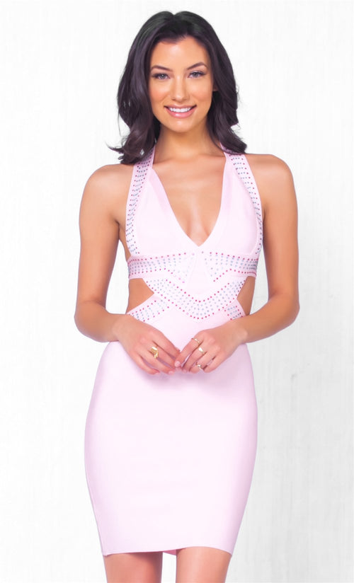 Indie XO Roll The Dice Pink Fuchsia Silver Rhinestone Sleeveless Plunge V Halter Cut Out Bandage Bodycon Mini Dress - Just Ours!