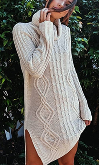 Remember This Long Sleeve Cable Turtleneck Pullover Tunic Sweater - 2 Colors Available