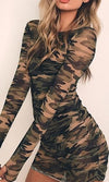 Major Flirt Olive Green Camo Sheer Mesh Long Sleeve Thumb Hole Crew Neck Bodycon Mini Dress - Sold Out