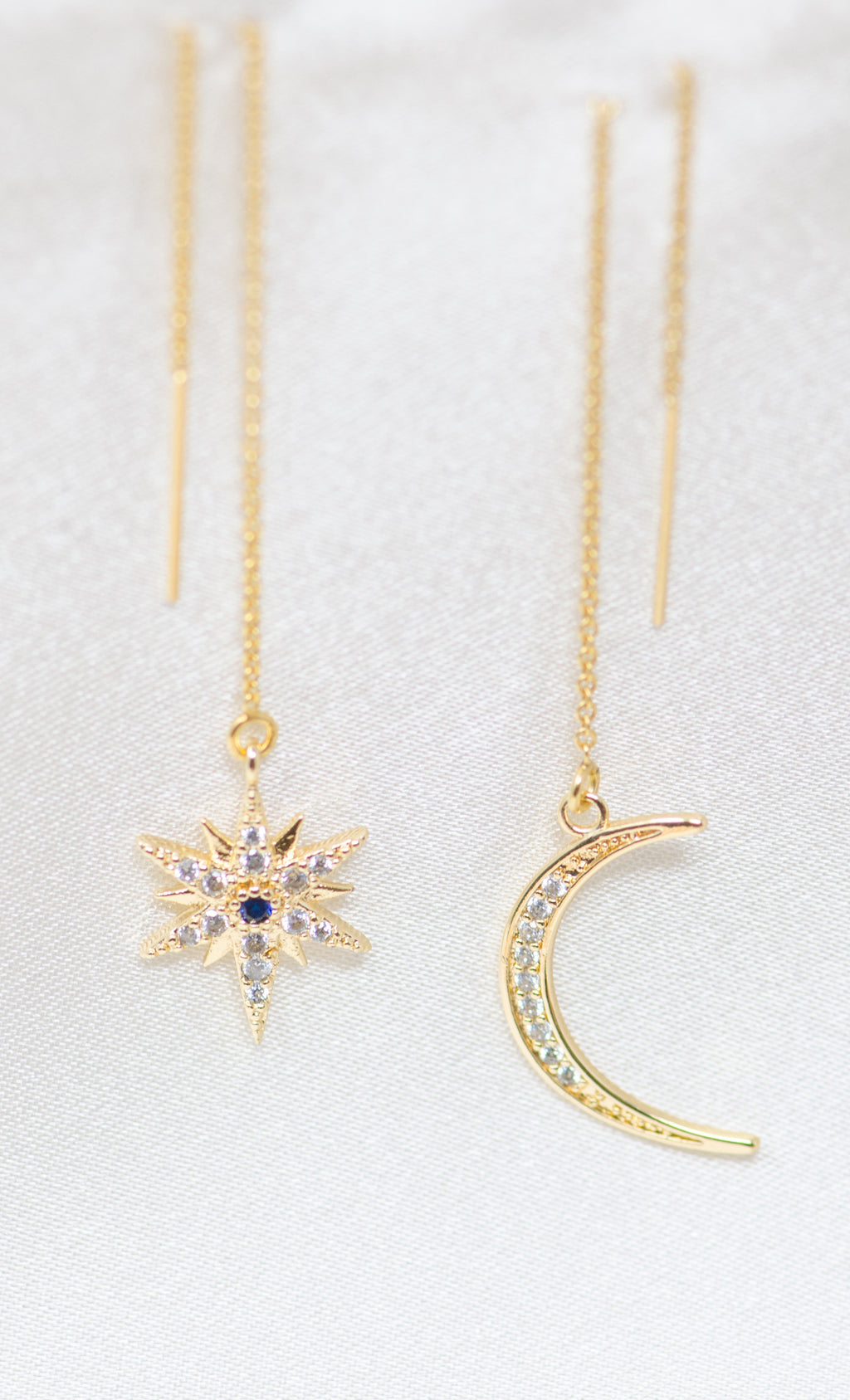 My Moon and Stars 14K Gold Filled with Rhinestone Blue Crystal Center Stone Threader Statement Dangle Earrings
