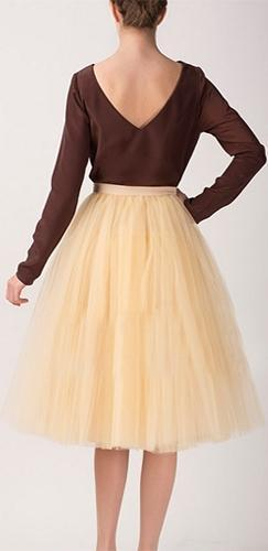 Champagne Yellow Tulle Pleated Ballerina A Line Full Midi Skirt - Sold Out