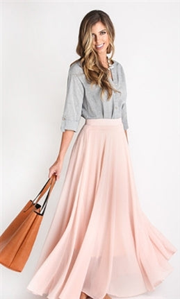 Modern Goddess Light Pink Chiffon A Line Flare Maxi Skirt - Sold Out