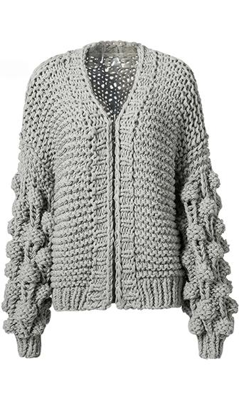 Desert Bound Grey Long Lantern Sleeve Chunky Knit Oversized Open Cardigan Sweater