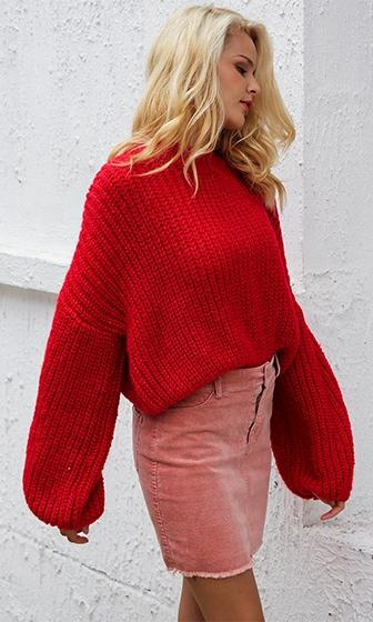 Pull Me Close Long Lantern Sleeve Mock Neck Chunky Pullover Sweater - 3 Colors Available