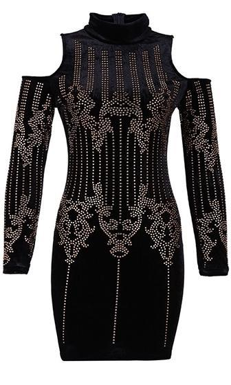 Bad to the Bone Long Sleeve Studded Cold Shoulder Black Metallic Geometric Mini Dress - Sold Out