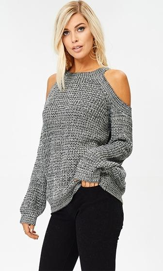 With Open Arms Long Sleeve Cold Shoulder Cut Out Pullover Sweater - 2 Colors Available (Pre-Order)