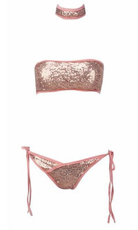 Wild Thoughts Rose Gold Contrast Sequin Choker Strapless Bandeau Two Piece Tie Side Bikini Swimsuit - Sold Out
