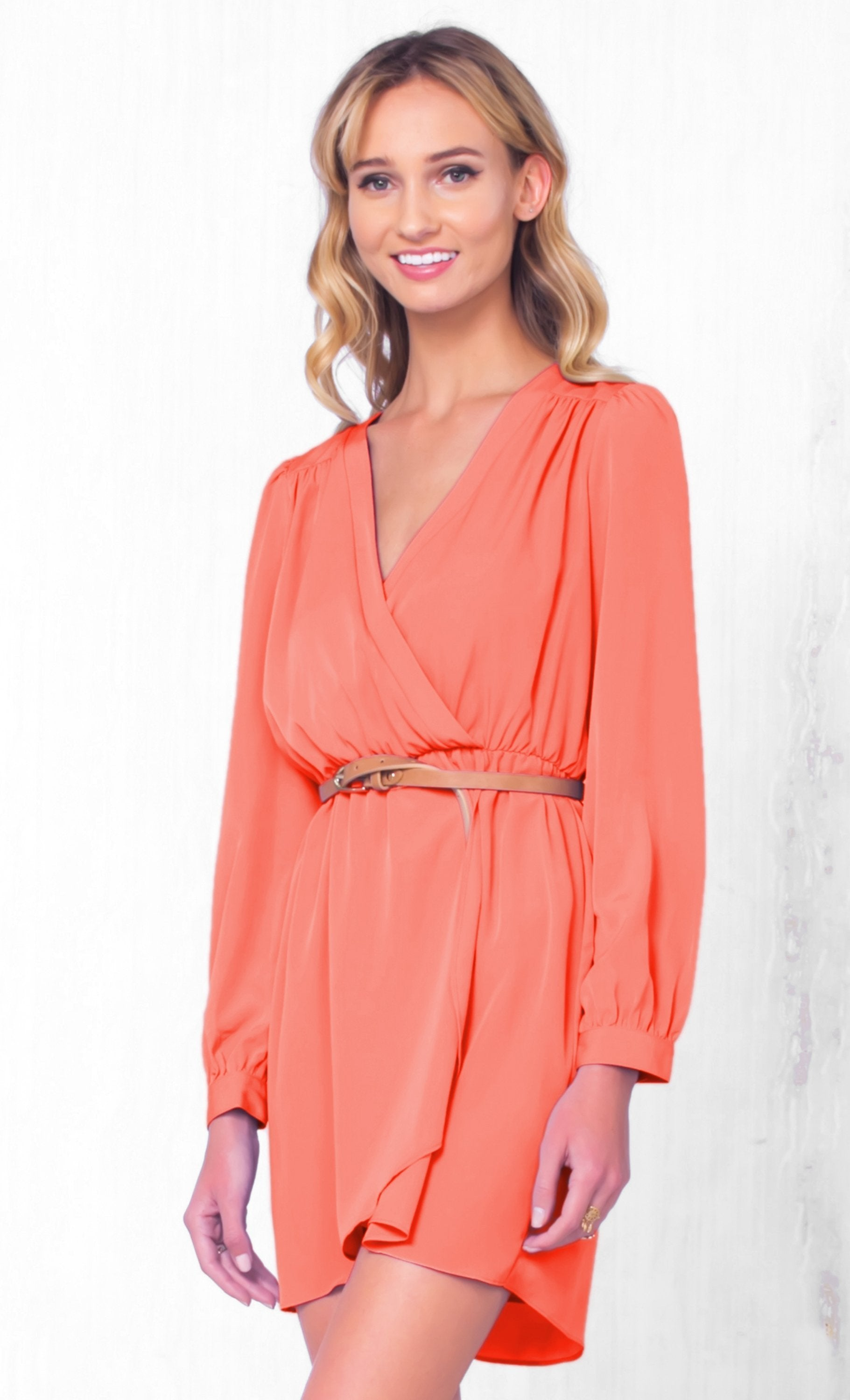 Indie XO That's A Wrap Coral Long Sleeve Cross Wrap V Neck Elastic Tulip Chiffon Mini Dress - Just Ours! - Sold Out