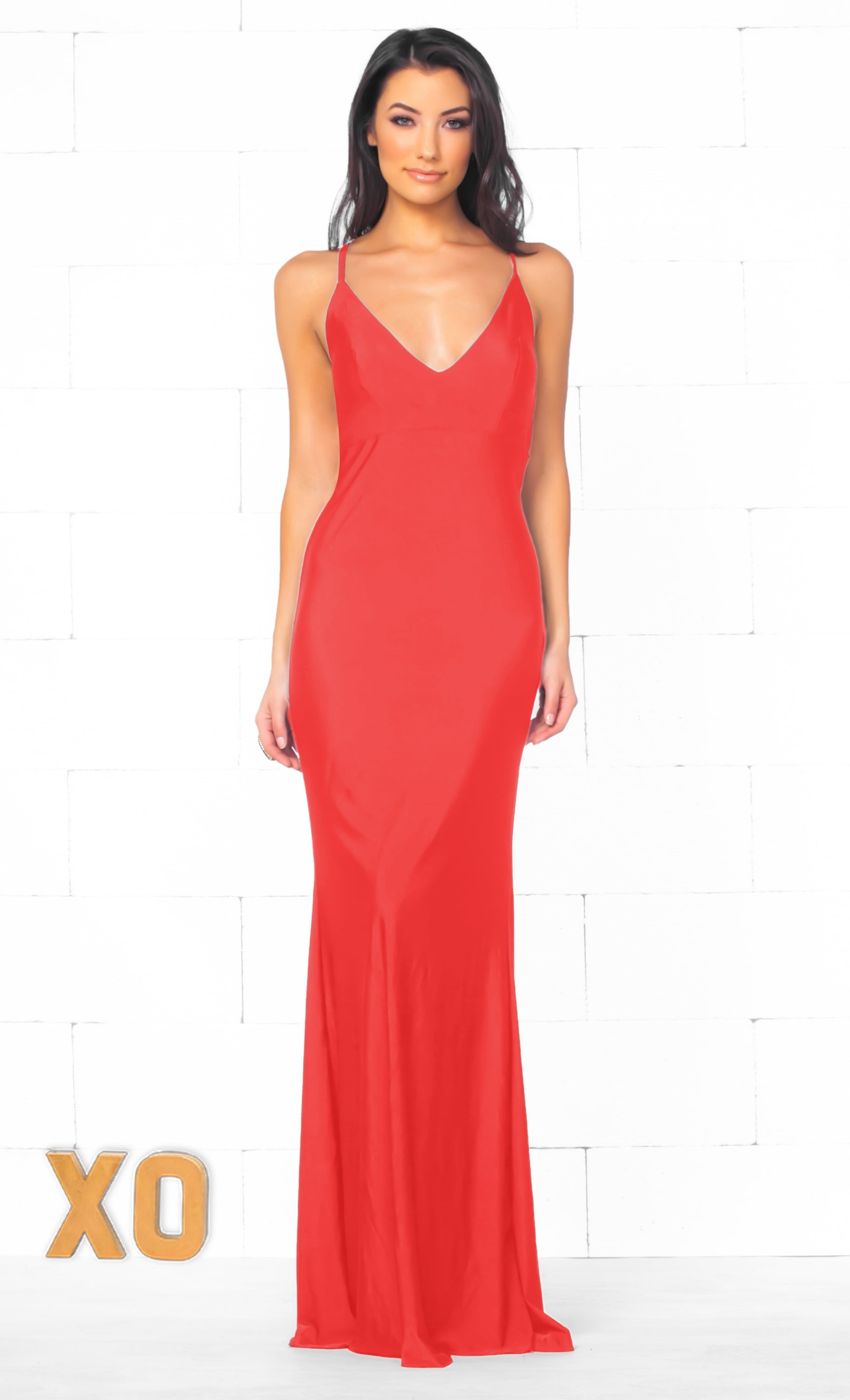 Indie XO In The Mood Coral Red Spaghetti Strap Plunge V Neck Backless Twist  Ruched Bodycon 0823a20e8