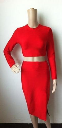 Fatal Seduction Red Long Sleeve Crew Neck Crop Top Slit Thigh Bandage Bodycon Midi Skirt Two Piece Dress - Sold Out