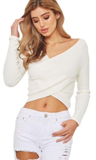 I'm Your Girl Long Sleeve Cross Wrap V Neck Crop Sweater - 2 Colors Available - Sold Out
