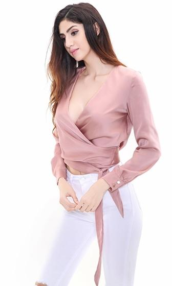 Boss Lady Light Brown Long Sleeve Cross Wrap V Neck Tie Waist Crop Blouse Top