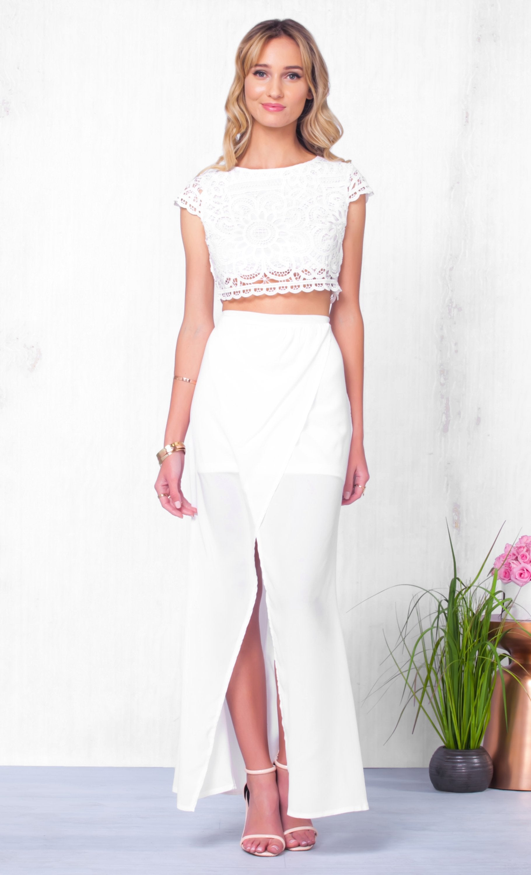 Indie XO Beach Please White Lace Two Piece Maxi Skirt Lace Crochet Crop Top - Just Ours! - Sold Out