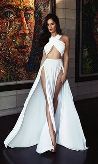 He's Mine White Sleeveless Cross Wrap Cut Out Halter Double Slit Maxi Dress - Last One!