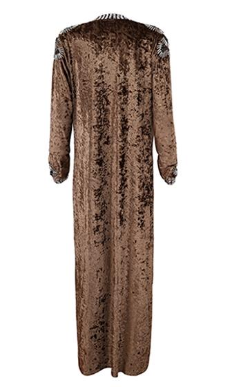 Luxe Touch Beaded Embellished Metallic Long Sleeve Crushed Velvet Open Lapel Knee Length Coat - 3 Colors Available