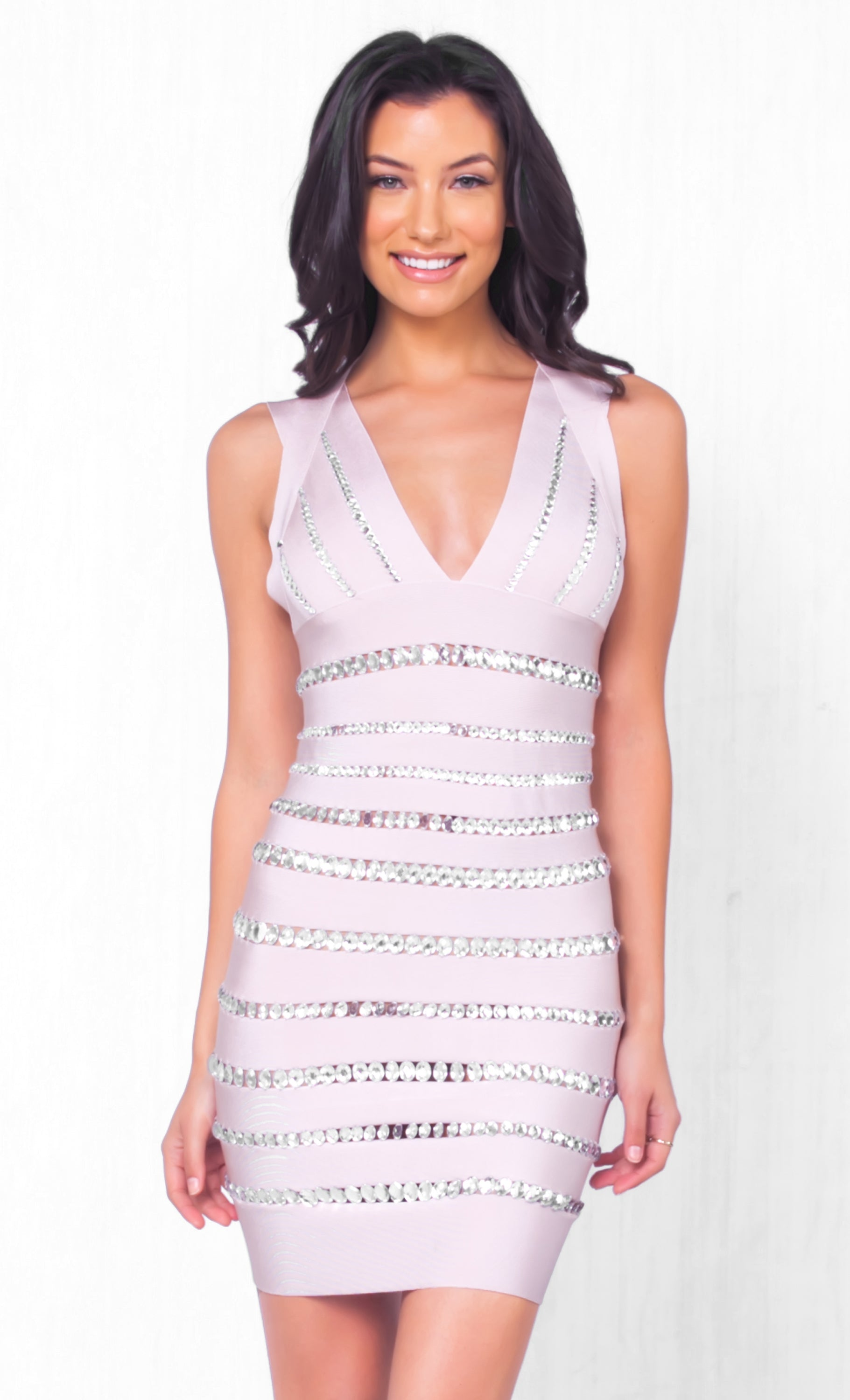 Indie XO Glamorous Magic Pink Beige Sleeveless V-Neck Embellished Rhinestone Crystal Bandage Bodycon Mini Dress - Just Ours! - Sold Out