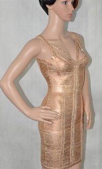 Chain Reaction Pink Rose Gold Sleeveless Cut Out Tank Straps V Neck Bodycon Bandage Mini Dress -  Sold Out