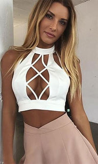 Running Wild Sleeveless Mock Neck Cut Out Cage Backless Halter Crop Top - 2 Colors Available - Sold Out
