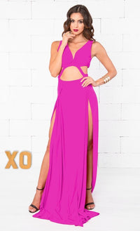 Indie XO Remember Me Fuchsia Pink Sleeveless Plunge V Neck Cut Out Double Slit Maxi Dress - Just Ours! - Sold Out