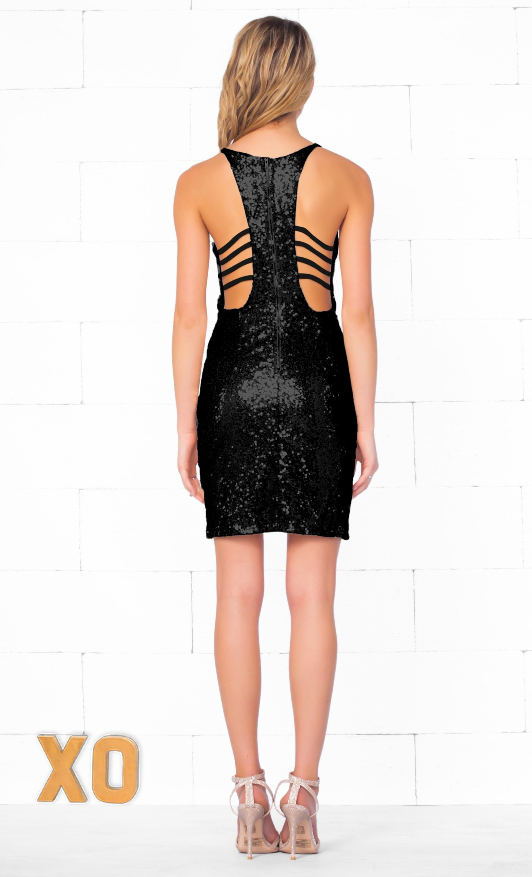 Indie XO Shimmer & Shake Black Sexy V Neck Wrap Front Cut Out Back Sleeveless Sequin Mini Dress - Just Ours! - Sold Out