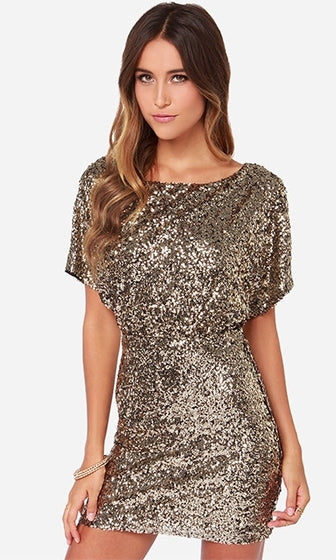 Golden Opportunity Gold Short Sleeve Boat Neck Sequin Cut Out Back Bodycon Mini Dress - Sold Out