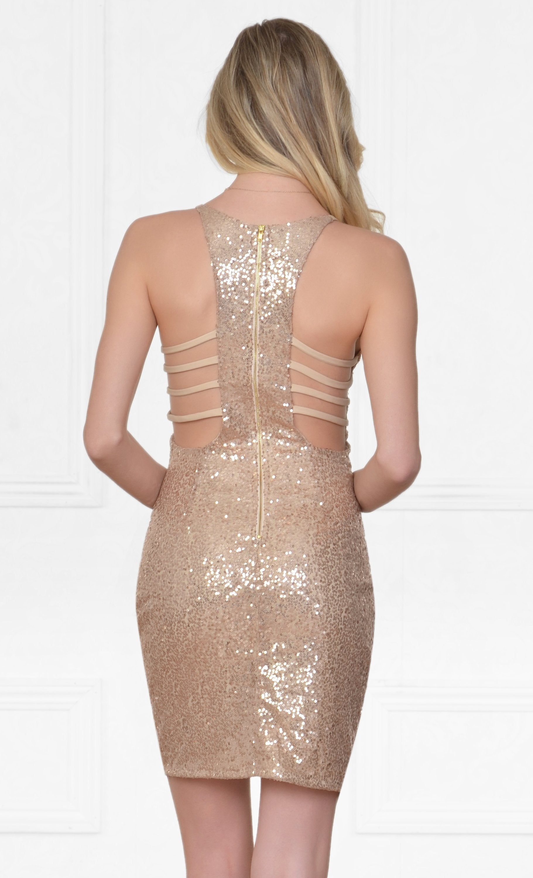Indie XO Glam Night Out Sexy V Neck Wrap Front Cut Out Back Sleeveless Sequin Mini Dress - Just Ours!