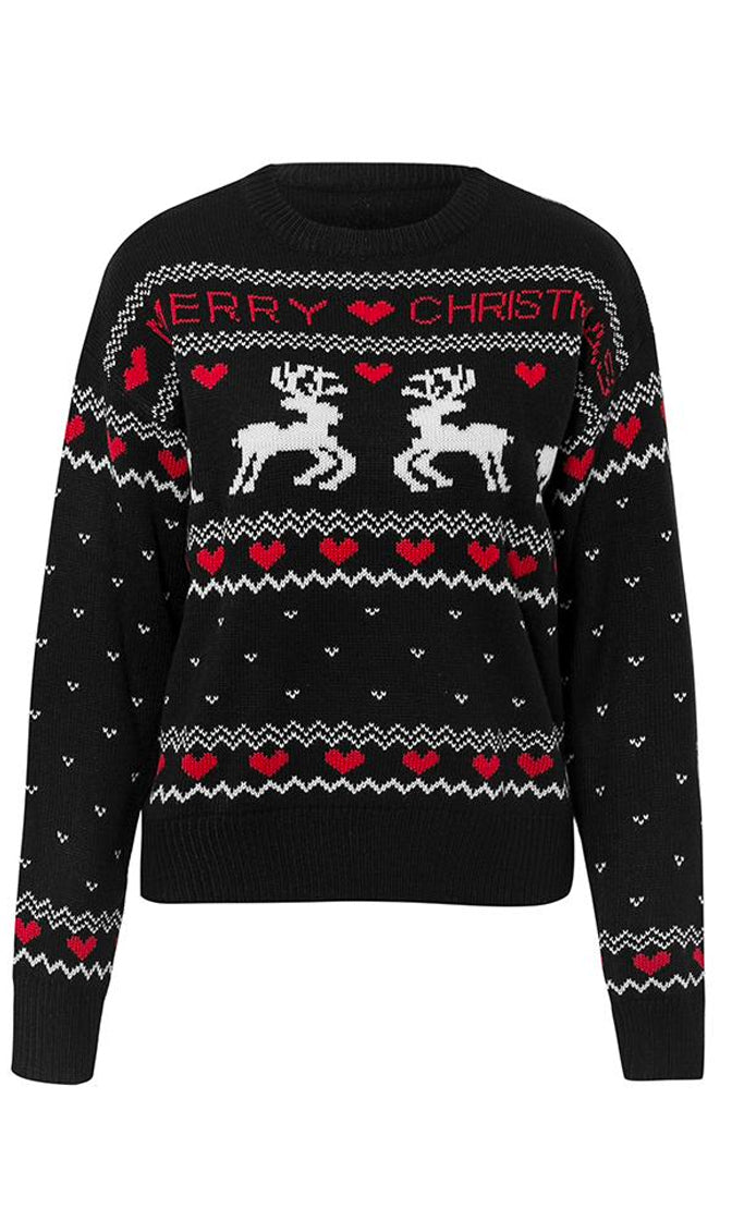 Deck The Halls Black XMAS Merry Christmas Pattern Long Sleeve Crew Neck Pullover Ugly Sweater