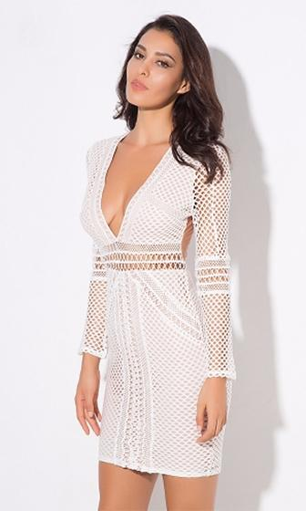 Center Of Attention White Geometric Lace Sheer Mesh Long Sleeve Plunge V Neck Bodycon Mini Dress