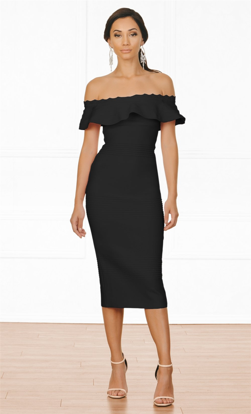 Indie XO Modern Icon Black Off The Shoulder Fold Over Ruffle Bodycon Bandage Midi Dress