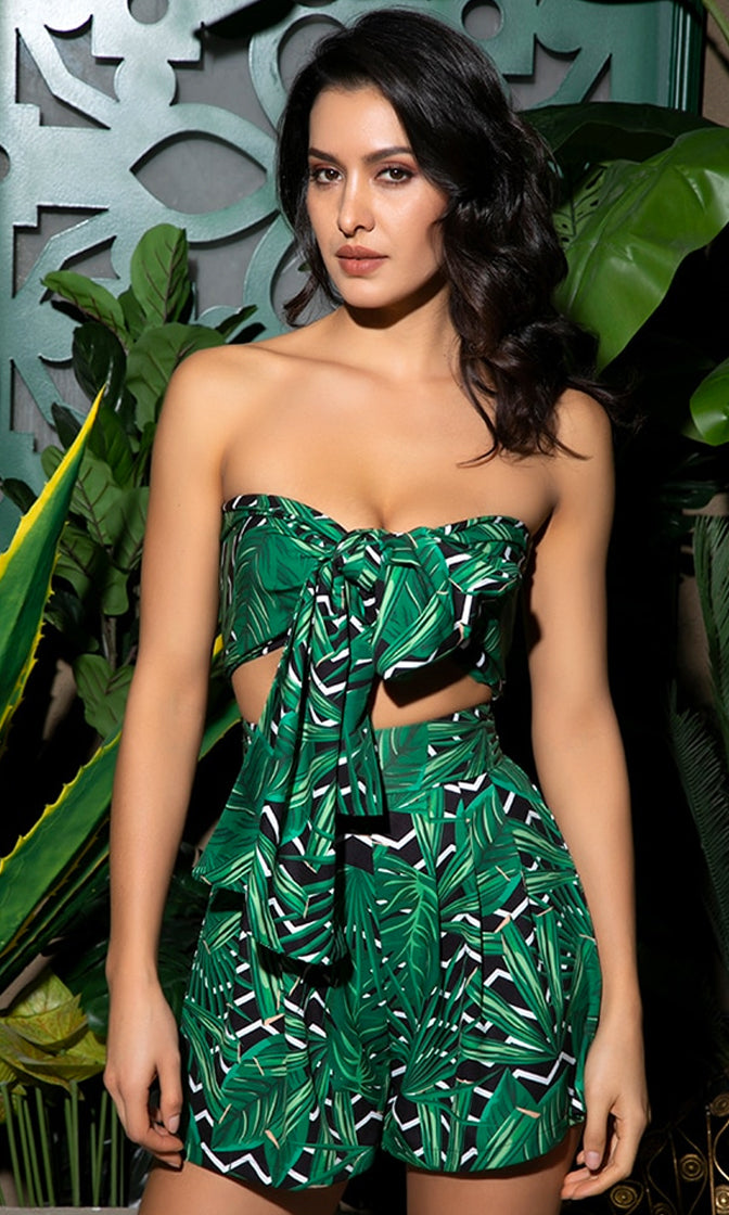 Chart Topper Green Black Leaf Pattern Strapless Bandeau Bow Crop Top Loose Shorts Two Piece Romper Playsuit