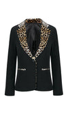 In My Own Way Black Cheetah Pattern Long Sleeve Lapel V Neck Blazer Jacket Outerwear - Sold Out