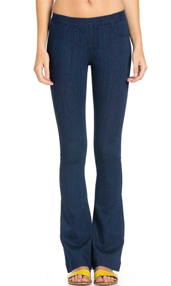 Keep It Clean Dark Blue Denim Elastic Waist Flare Leg Stretch Jeans Pants