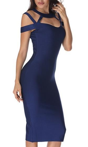 Night Shade Dark Navy Blue Cut Out Off The Shoulder Mock Neck V Neckline Bodycon Bandage Midi Dress - Sold Out