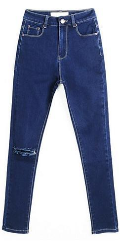 Dark Blue Denim Zip Button Fly Stretch Ripped Knee Skinny Jeans - Sold Out