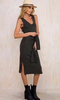 Now And Zen Dark Grey Sleeveless V Neck Tie Waist Sash Midi Dress - Sold Out