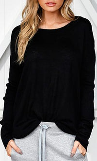 Hanging In Long Sleeve Drop Shoulder Scoop Neck Pullover Sweater - 3 Colors Available - Sold Out