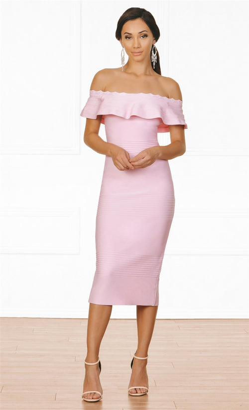 Indie XO Modern Icon Pink Off The Shoulder Fold Over Ruffle Bodycon Bandage Midi Dress