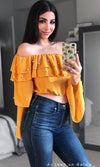 Real Love Yellow Long Bell Sleeve Tiered Off The Shoulder Pearl Crop Top Blouse
