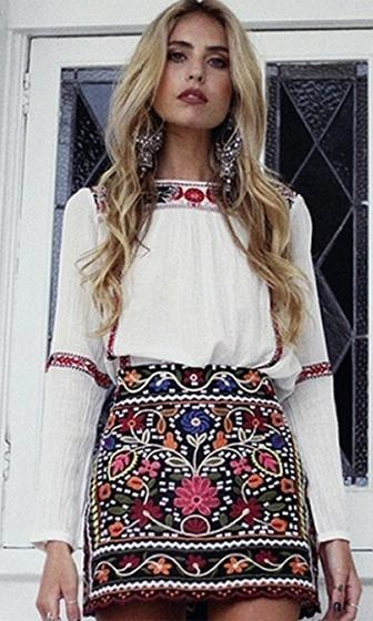 Folk Art High Waist Floral Embroidery Boho Pattern Mini Skirt - Sold Out