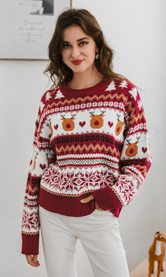 Deck The Halls Red Heart Reindeer XMAS Merry Christmas Pattern Long Sleeve Crew Neck Pullover Ugly Sweater