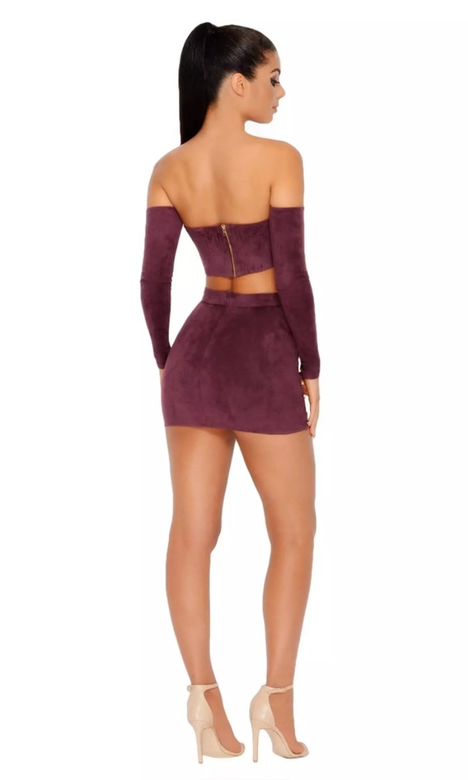 Per-Suede Me Metallic Faux Suede Cut Out Strapless Off the Shoulder Long Sleeve Crop Top Zipper Body Con Mini Skirt Two Piece Dress - 2 Colors Available
