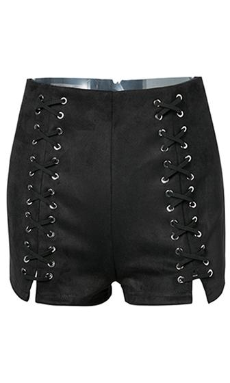 Hot Damn Faux Suede High Waist Lace Up Shorts - 3 Colors Available - Sold Out