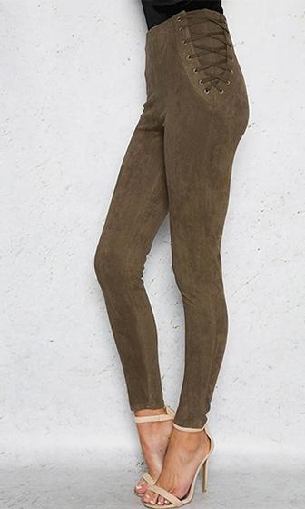 Lace Effect Faux Suede Lace Up Side Skinny Pant - 3 Colors Available