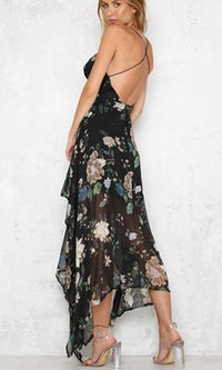 Summer Lover Floral  Spaghetti Strap Plunge V Neck X Back Handkerchief Asymmetric Hem Maxi Dress - 2 Colors Available - Sold Out