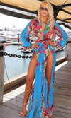 Welcome to Miami Blue Blue Red Pink Green Beige White Floral Long Sleeve Plunge V Neck High Slit Chiffon Maxi Dress - Last One! - Sold Out