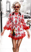 Sunday Candy Floral 3/4 Bell Sleeve Mock Neck Tassel Romper Playsuit - 3 Colors Available - Sold Out